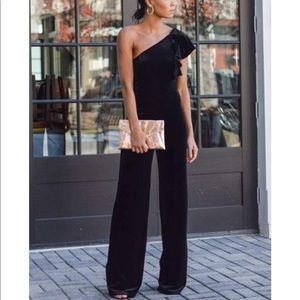 One Shoulder Velvet Ruffle Jumpsuit NWOT
